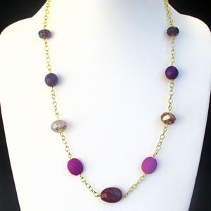 Long Purple Violet Beaded Necklace with Gold Chain
